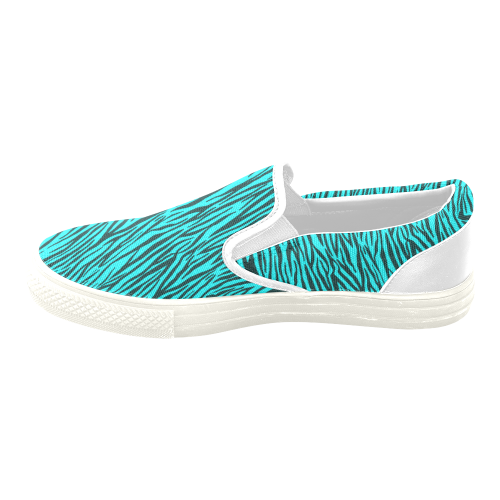 Turquoise Zebra Stripes Women's Unusual Slip-on Canvas Shoes (Model 019)