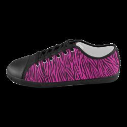 Pink Zebra Stripes Women's Canvas Shoes (Model 016)
