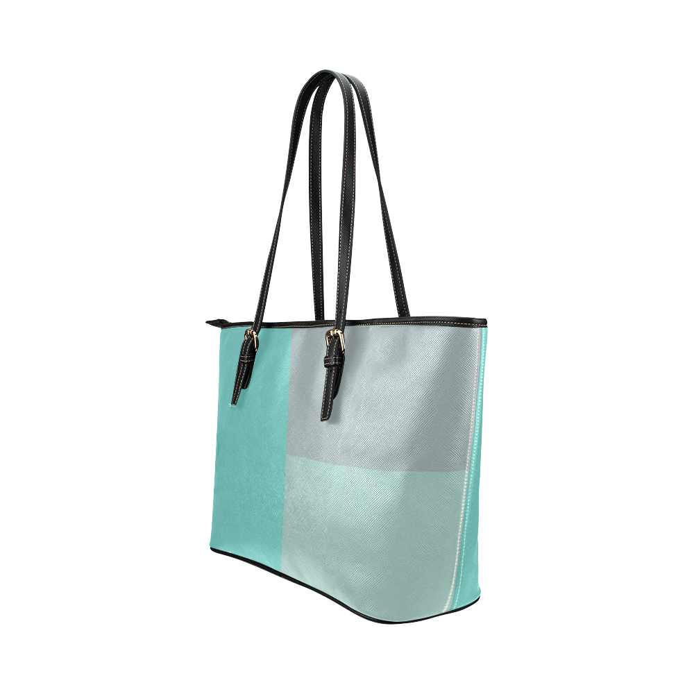 Grey with Teal Accents Leather Tote Bag/Large (Model 1651)
