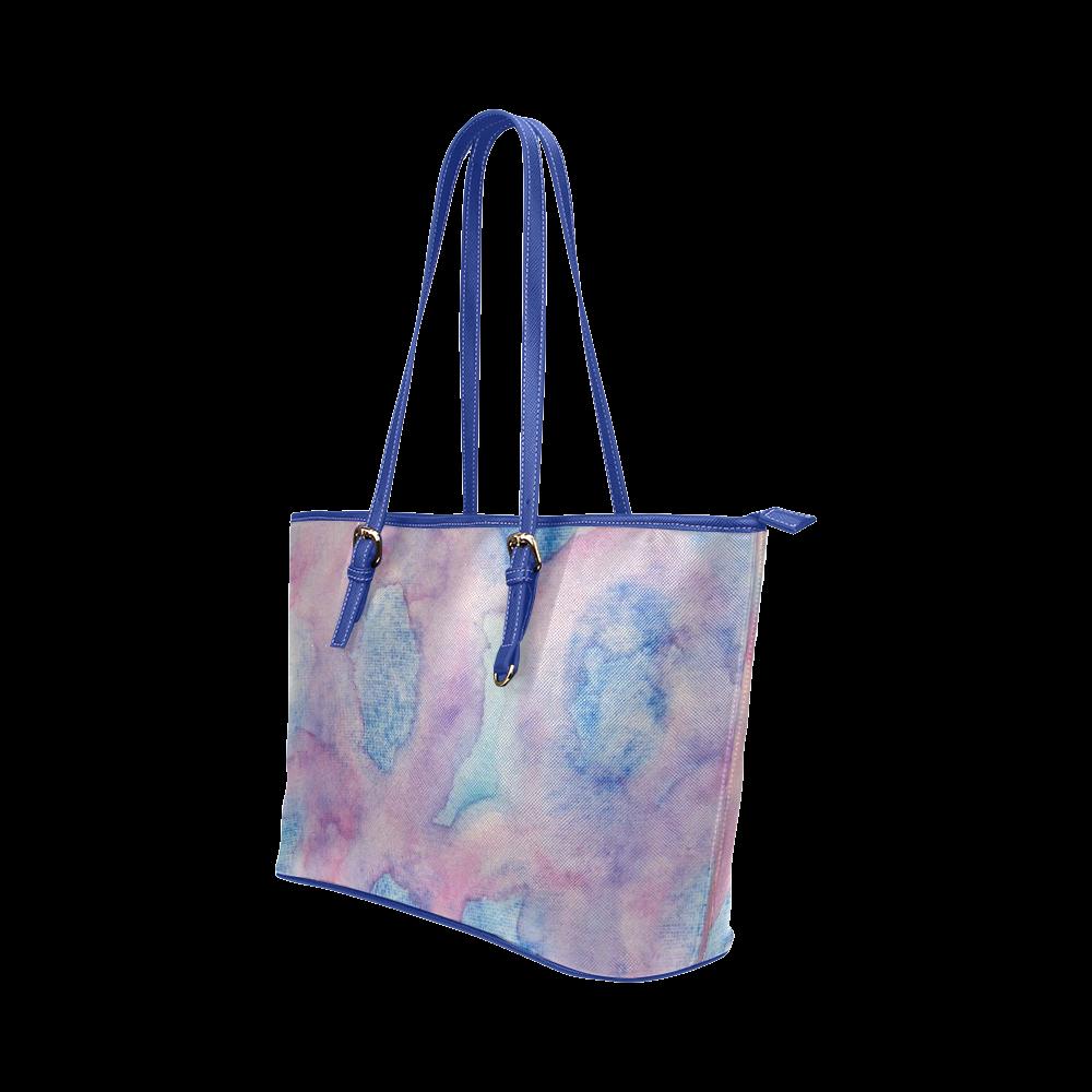 Chantant Violettes Leather Tote Bag/Large (Model 1651)
