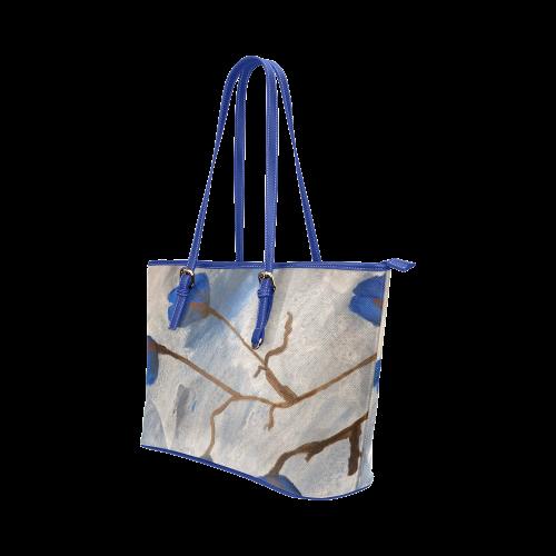 Azur Floraison Leather Tote Bag/Large (Model 1651)
