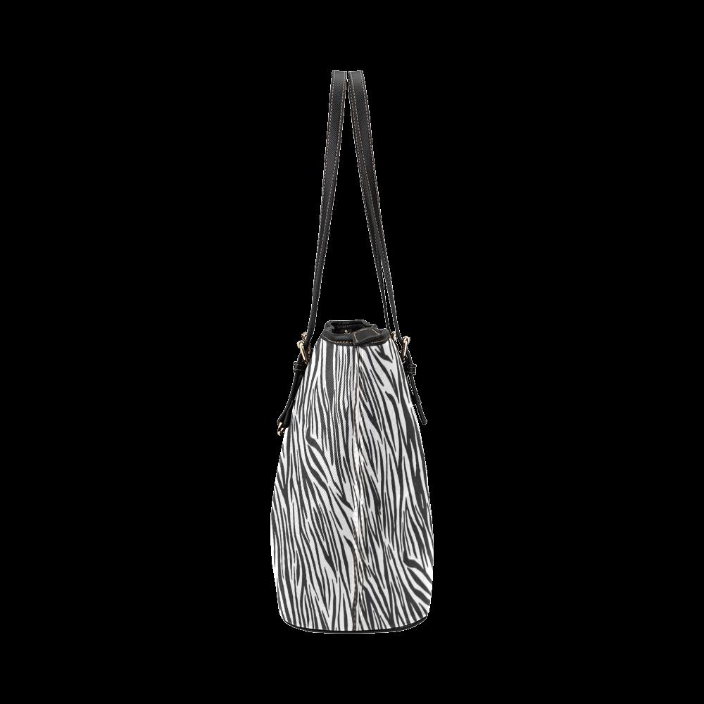 Zebra Stripes Animal Print Fur Leather Tote Bag/Large (Model 1651)