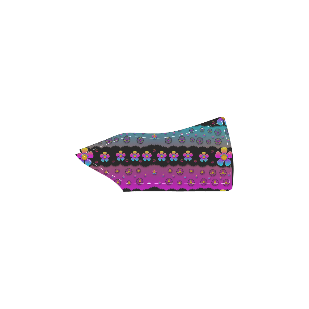 Rainbow  big flowers in peace for love and freedom Women's Unusual Slip-on Canvas Shoes (Model 019)