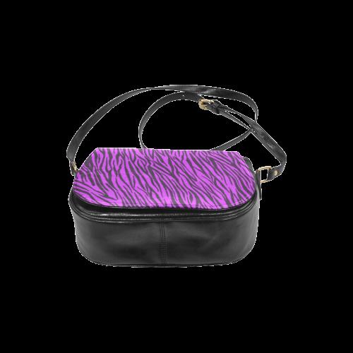 Purple Zebra Stripes Animal Print Fur Classic Saddle Bag/Large (Model 1648)