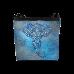 A blue watercolor elephant portrait in denim look Crossbody Bags (Model 1613)
