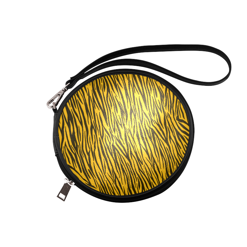 Yellow Zebra Stripes Animal Print Fur Round Makeup Bag (Model 1625)