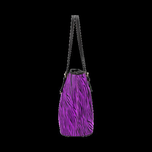 Purple Zebra Stripes Animal Print Fur Leather Tote Bag/Large (Model 1651)
