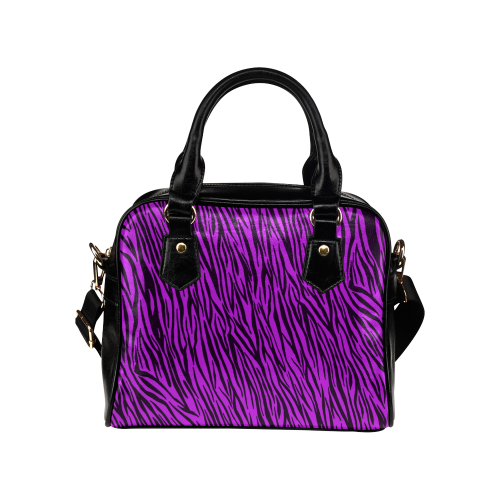 Purple Zebra Stripes Animal Print Fur Shoulder Handbag (Model 1634)