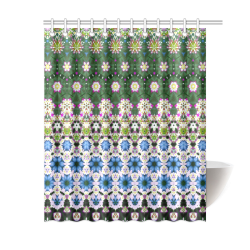 "Abstract Ethnic Floral Stripe Pattern Country Ethno Traditional Shower Curtain 60""x72"""