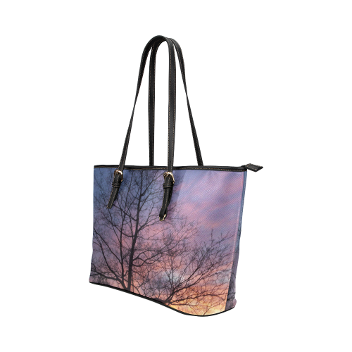 Purple Sunset Leather Tote Bag/Large (Model 1651)