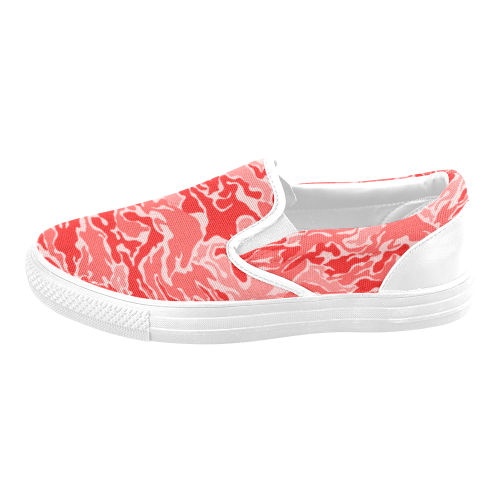 Camo Red Camouflage Pattern Print Men's Slip-on Canvas Shoes (Model 019)
