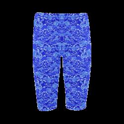Camo Blue Camouflage Print Pattern Hestia Cropped Leggings (Model L03)