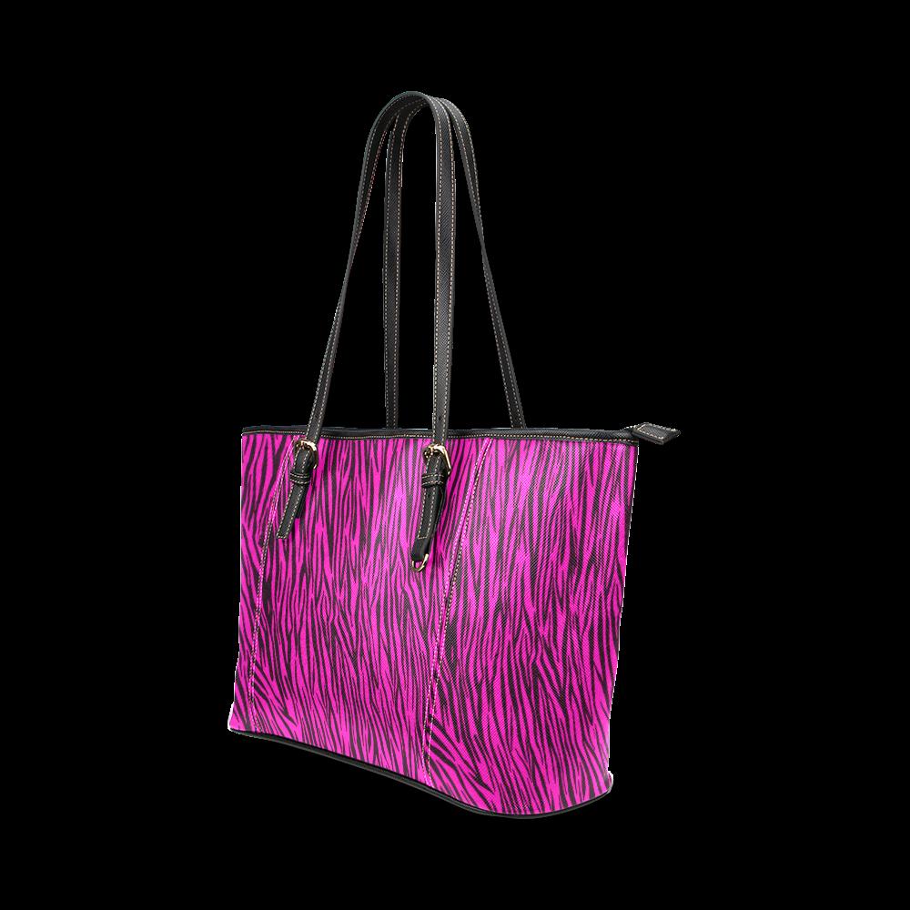 Hot Pink Zebra Stripes Animal Print Fur Leather Tote Bag/Large (Model 1640)