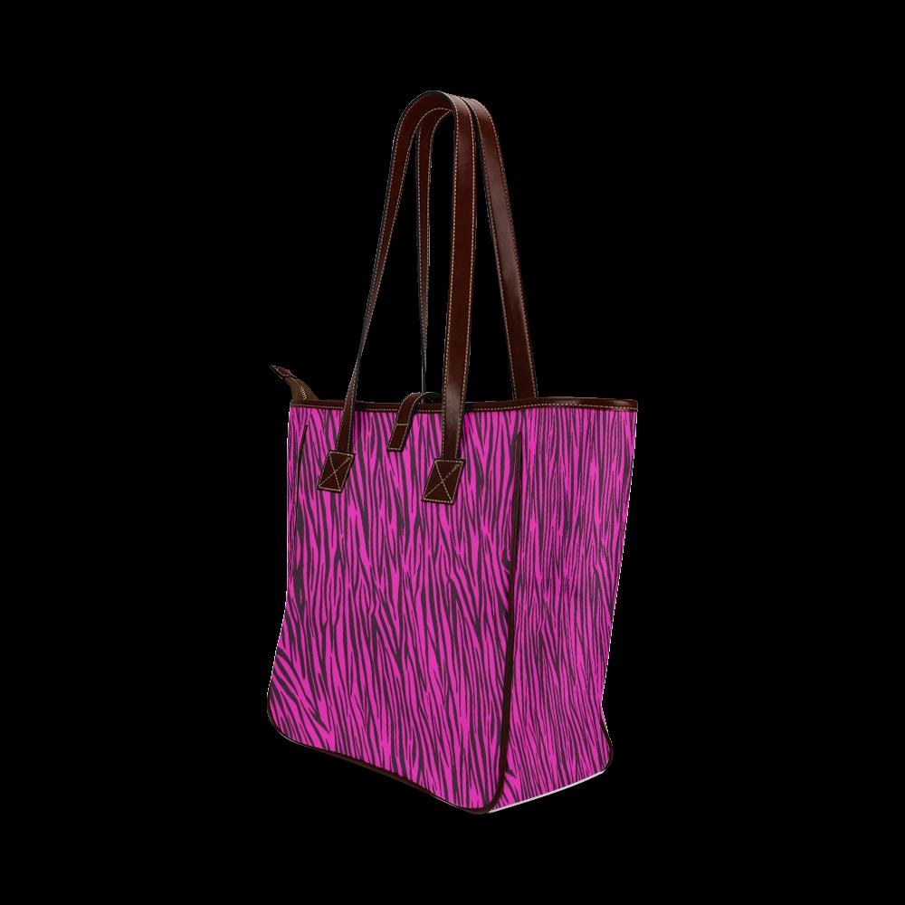 Hot Pink Zebra Stripes Animal Print Fur Classic Tote Bag (Model 1644)