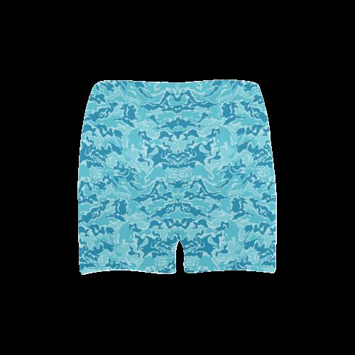 Camo Blue Camouflage Print Pattern Briseis Skinny Shorts (Model L04)