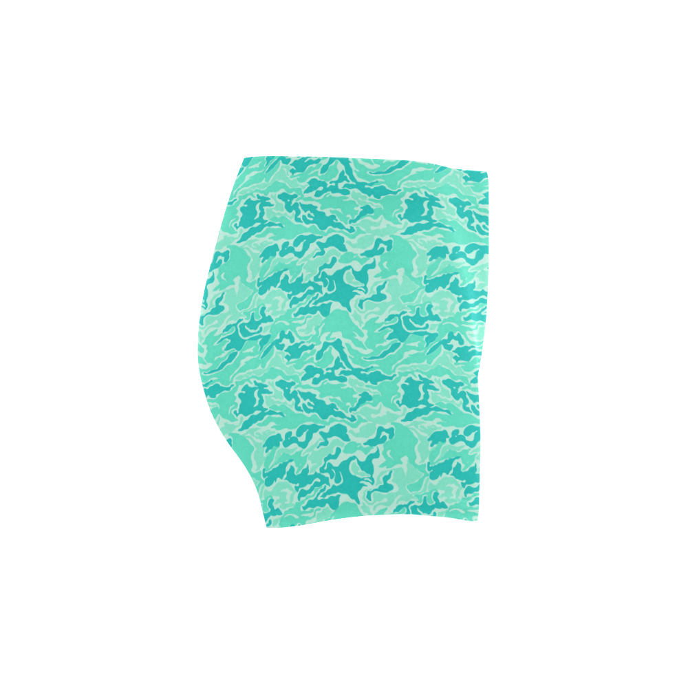 Camo Turquoise Camouflage Print Pattern Briseis Skinny Shorts (Model L04)