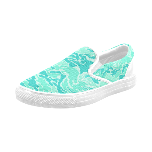 Camo Turquoise Camouflage Pattern Print Men's Slip-on Canvas Shoes (Model 019)