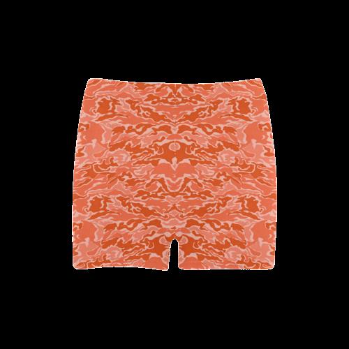 Camo Orange Camouflage Print Pattern Briseis Skinny Shorts (Model L04)
