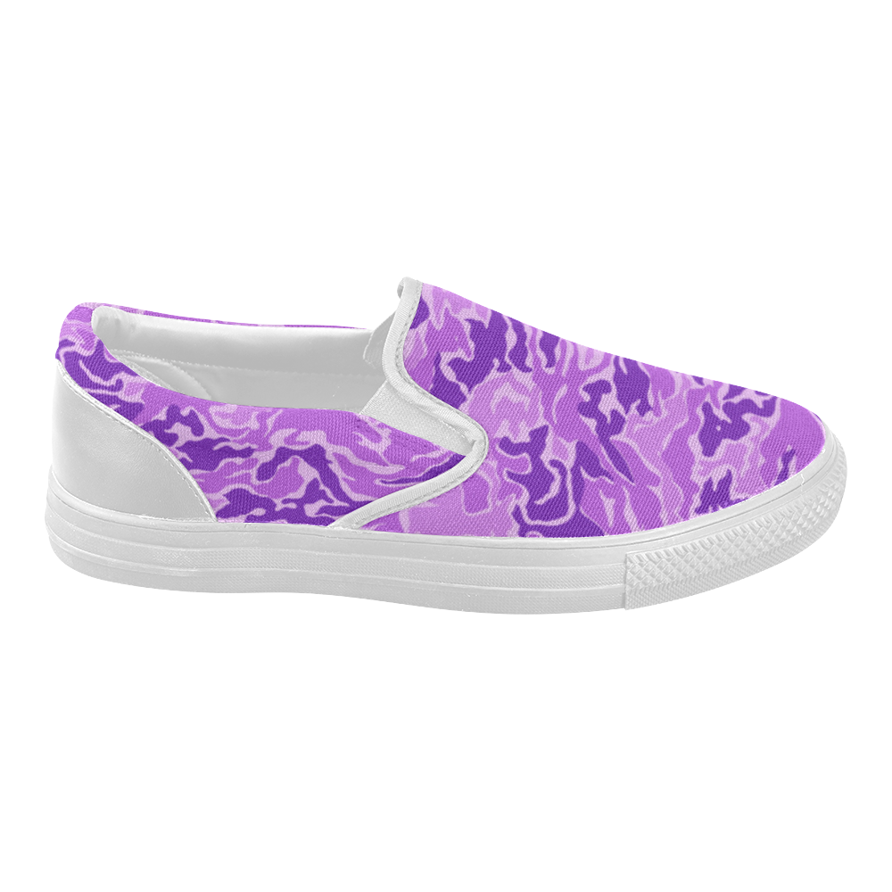 Camo Purple Camouflage Pattern Print Women's Slip-on Canvas Shoes (Model 019)