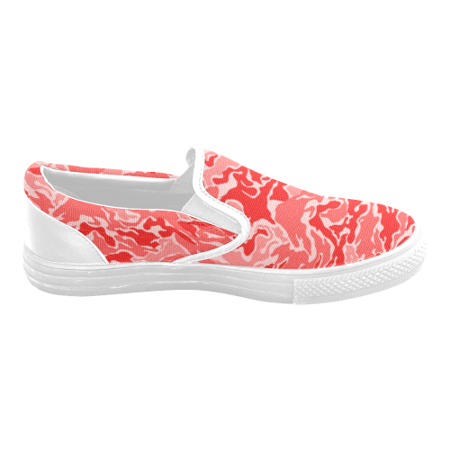 Camo Red Camouflage Pattern Print Women's Unusual Slip-on Canvas Shoes (Model 019)