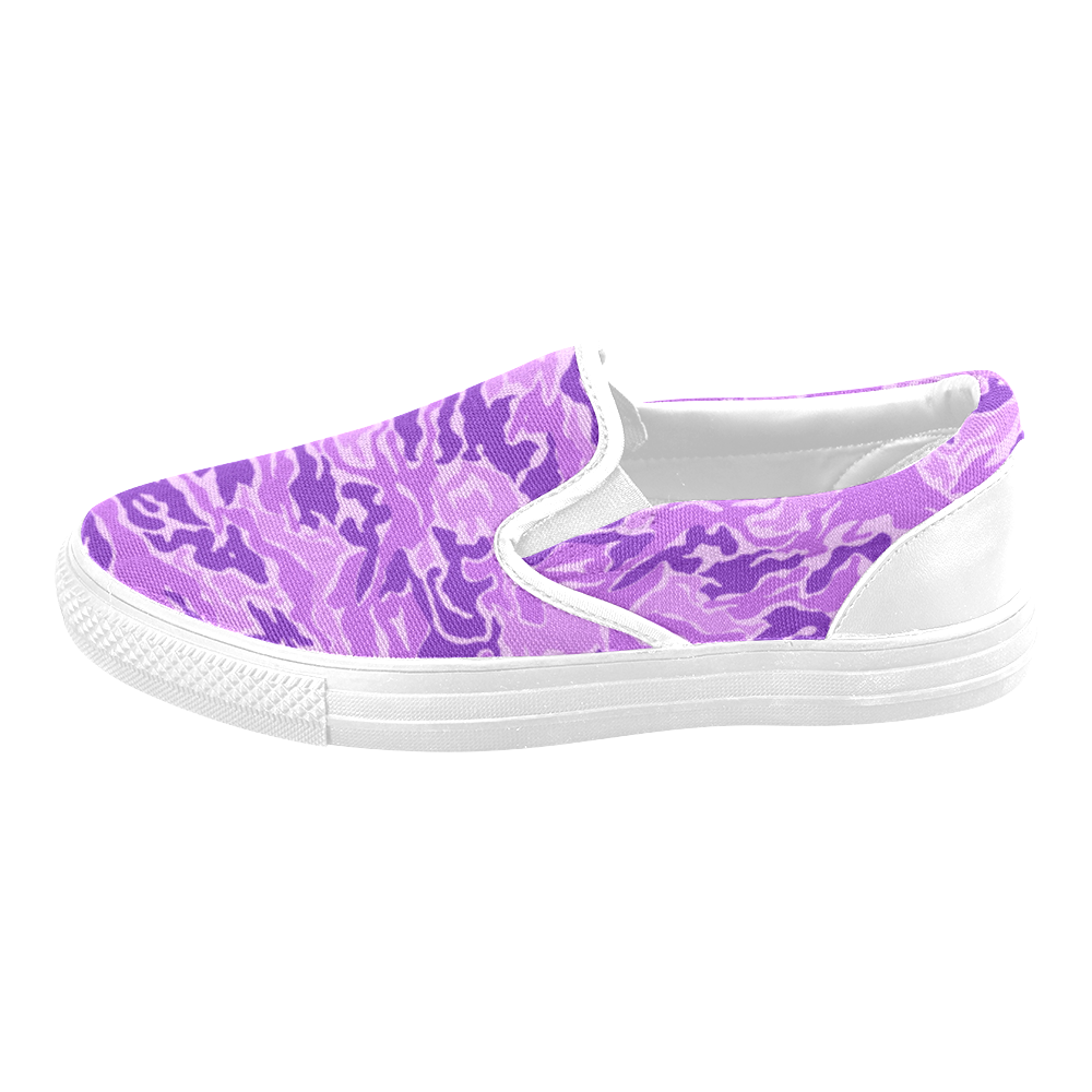 Camo Purple Camouflage Pattern Print Women's Unusual Slip-on Canvas Shoes (Model 019)