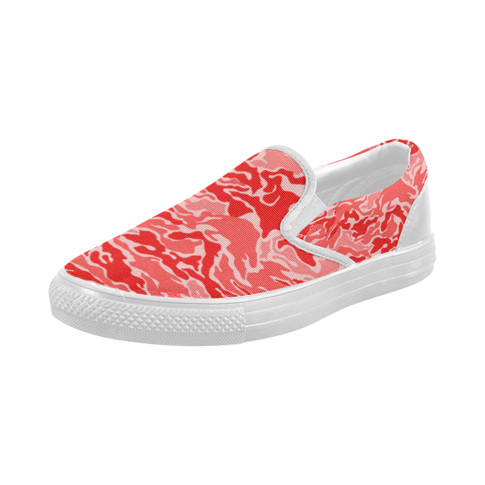Camo Red Camouflage Pattern Print Women's Slip-on Canvas Shoes (Model 019)
