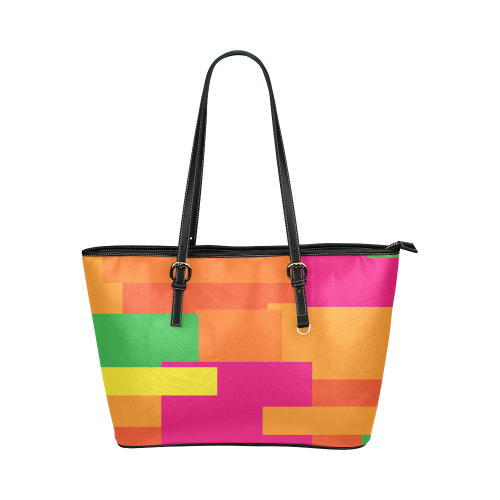 Bright Squares Leather Tote Bag/Large (Model 1651)