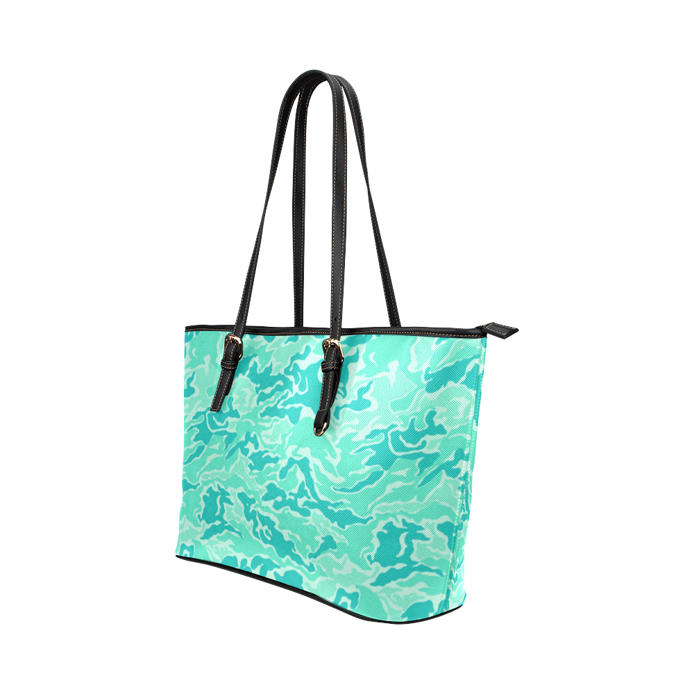 Camo Turquoise Camouflage Pattern Print Leather Tote Bag/Large (Model 1651)