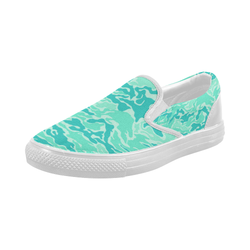 Camo Turquoise Camouflage Pattern Print Women's Slip-on Canvas Shoes (Model 019)