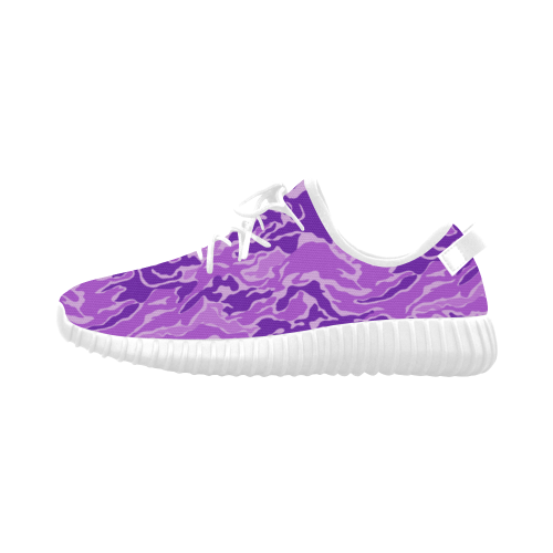 Camo Purple Camouflage Pattern Print Grus Women's Breathable Woven Running Shoes (Model 022)