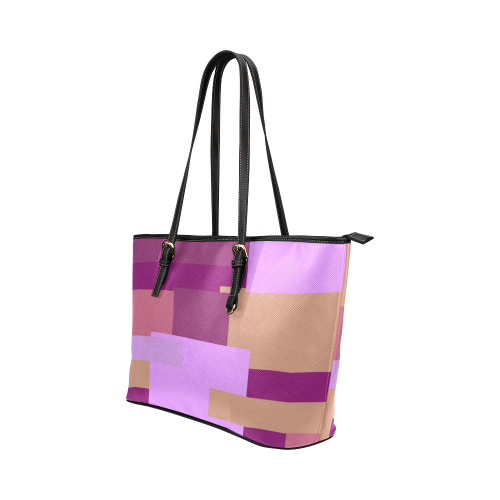 Pink Peach Squares Leather Tote Bag/Large (Model 1651)