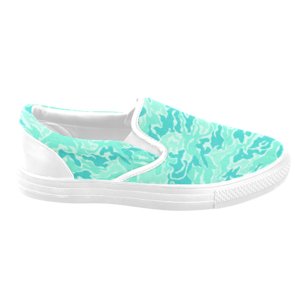 Camo Turquoise Camouflage Pattern Print Women's Unusual Slip-on Canvas Shoes (Model 019)