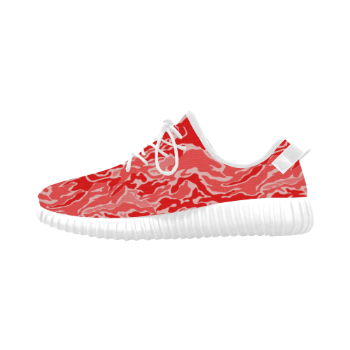 Camo Red Camouflage Pattern Print Grus Women's Breathable Woven Running Shoes (Model 022)