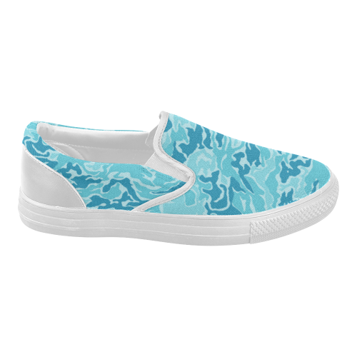 Camo Blue Camouflage Pattern Print Women's Slip-on Canvas Shoes (Model 019)