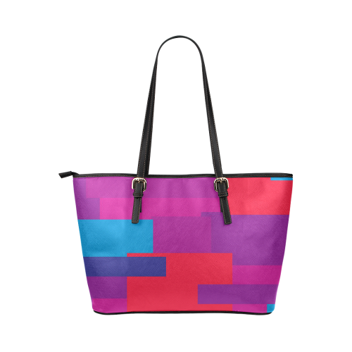 Rainbow Squares Leather Tote Bag/Large (Model 1651)