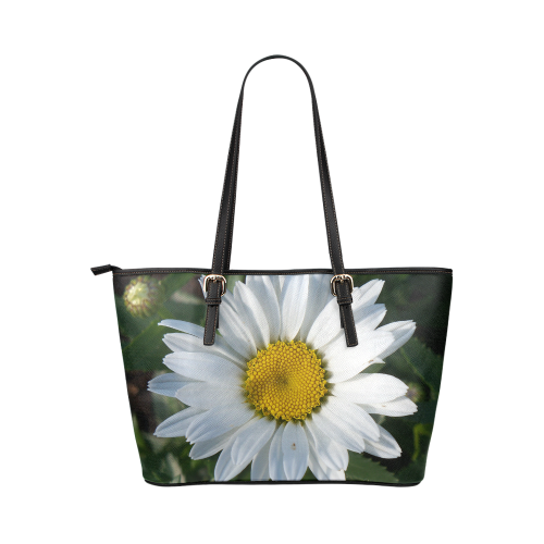 White Daisy Leather Tote Bag/Large (Model 1651)