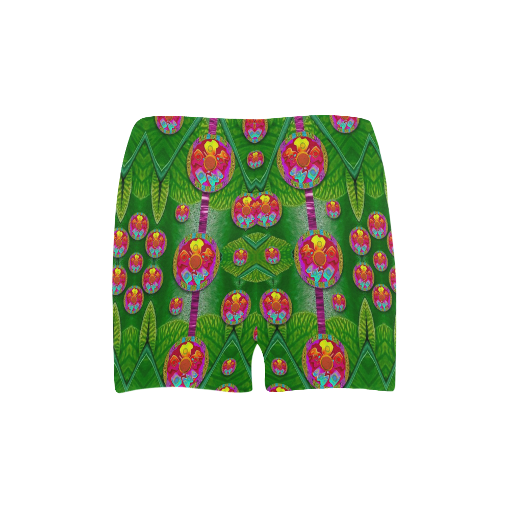 Orchid Forest Filled of big flowers and chevron Briseis Skinny Shorts (Model L04)