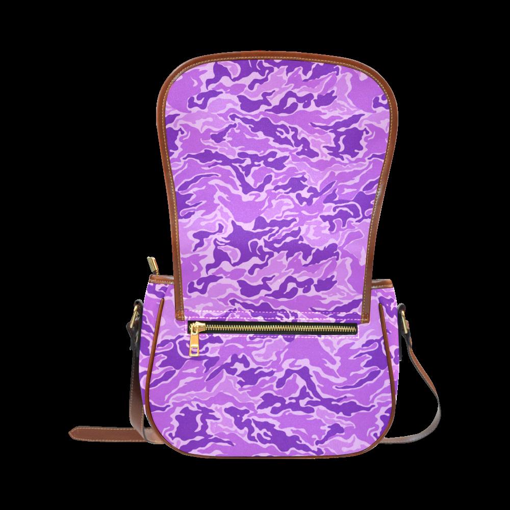 Camo Purple Camouflage Pattern Print Saddle Bag/Small (Model 1649) Full Customization