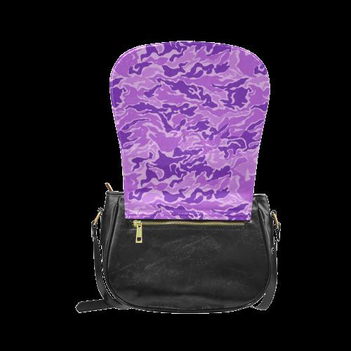 Camo Purple Camouflage Pattern Print Classic Saddle Bag/Small (Model 1648)