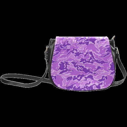 Camo Purple Camouflage Pattern Print Classic Saddle Bag/Large (Model 1648)