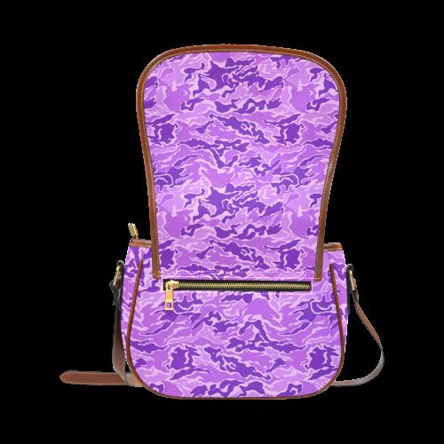 Camo Purple Camouflage Pattern Print Saddle Bag/Large (Model 1649)