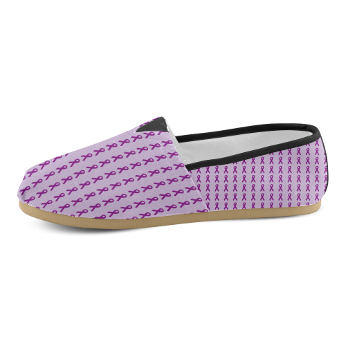 Dark Purple Ribbons Unisex Casual Shoes (Model 004)