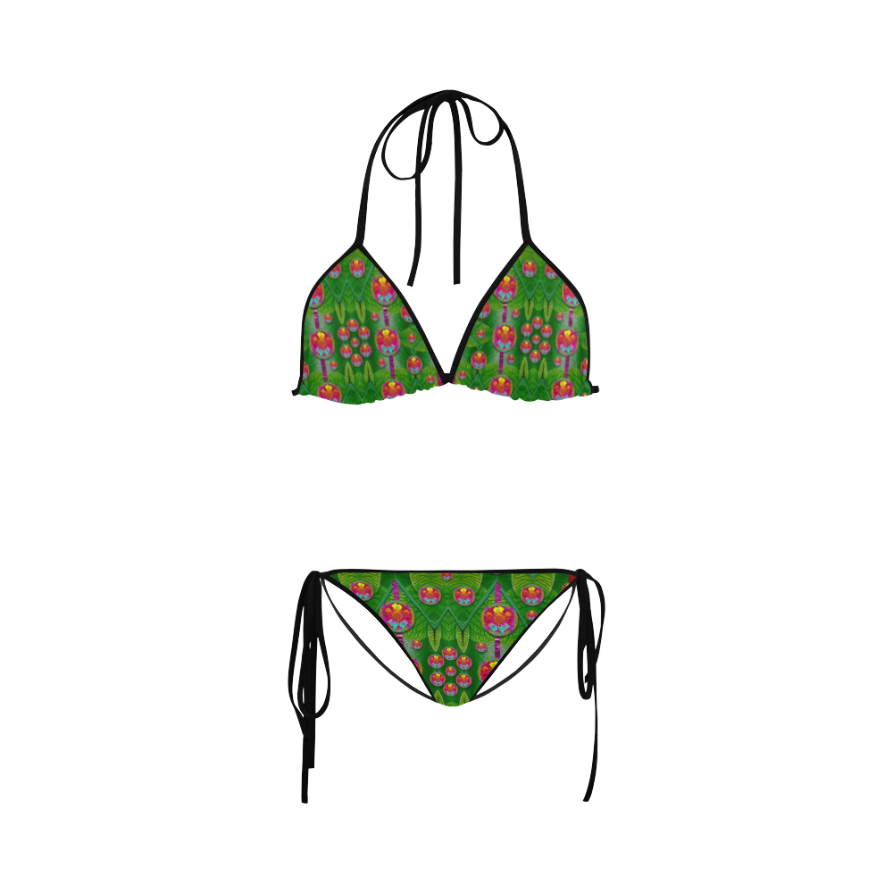 Orchid Forest Filled of big flowers and chevron Custom Bikini Swimsuit
