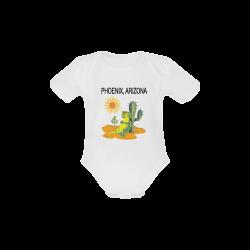 Phoenix Arizona Lizard under Saguaro Baby Powder Organic Short Sleeve One Piece (Model T28)