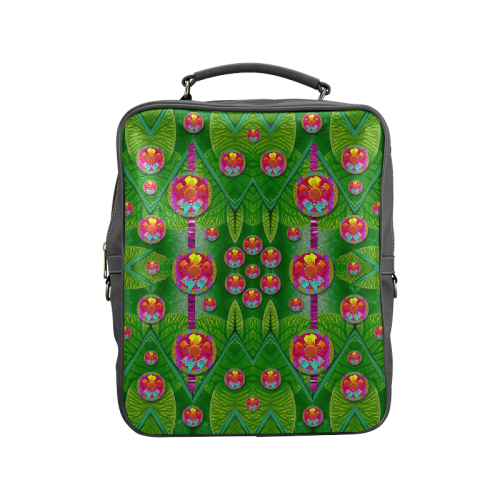 Orchid Forest Filled of big flowers and chevron Square Backpack (Model 1618)