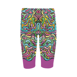 Colorful Tidal Pool, abstract animals, purple Hestia Cropped Leggings (Model L03)