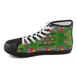 Orchid Forest Filled of big flowers and chevron Men's High Top Canvas Shoes (Model 002)