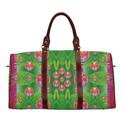 Orchid Forest Filled of big flowers and chevron Waterproof Travel Bag/Large (Model 1639)