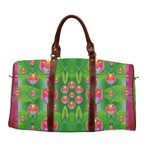 Orchid Forest Filled of big flowers and chevron Waterproof Travel Bag/Small (Model 1639)