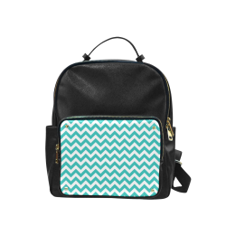 Turquoise and white zigzag chevron Campus backpack/Large (Model 1650)